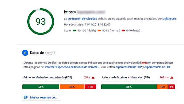 Puntuación del nuevo Google PageSpeed