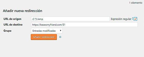 Configuración del plugin Redirection