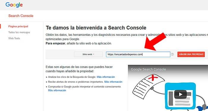 añadir web en search console