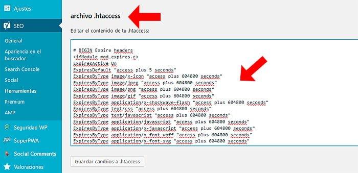 edición archivo .htaccess