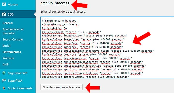 edición de archivo htaccess