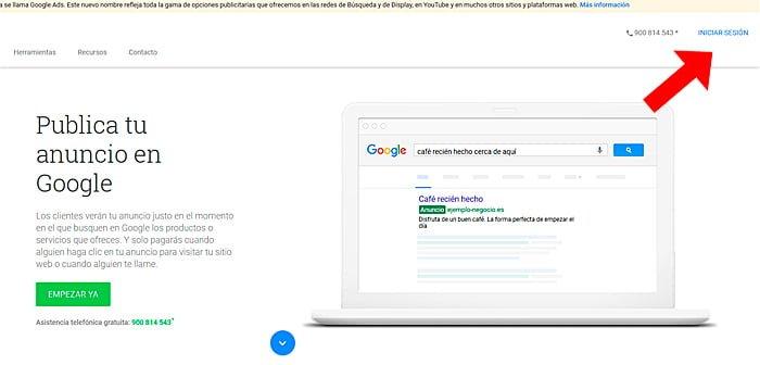 inicio sesion google ads