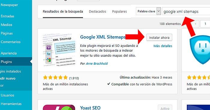 instalación del plugin google xml sitemaps