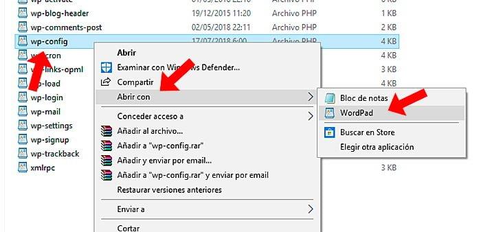 editar wp config