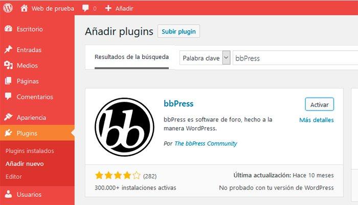 instalar plugin bbpress