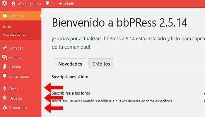 pestañas del plugin bbPress