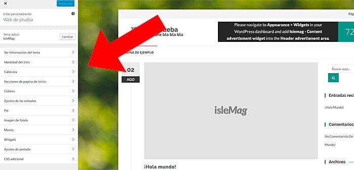 Menú de personalización WordPress