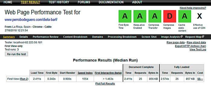 plantilla genesis velocidad webpagetest