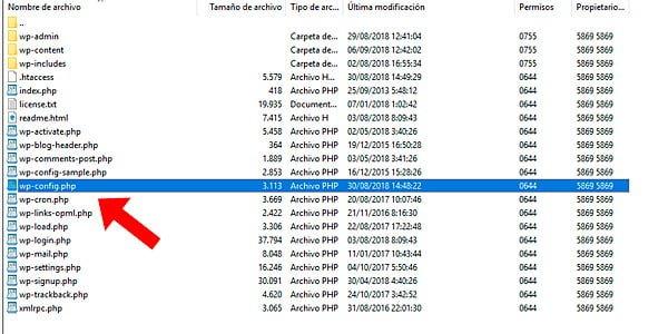 archivo wp config