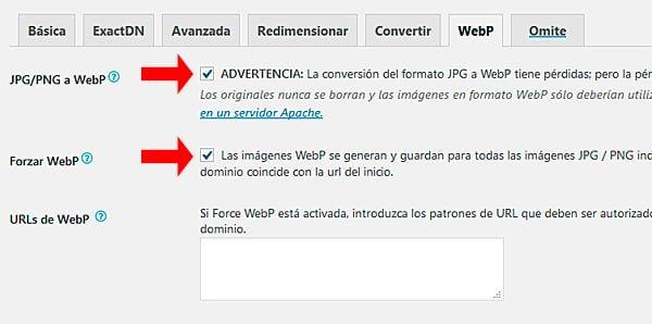 Configuración de WebP