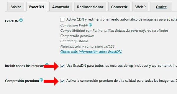 Opción de configuración ExactDN