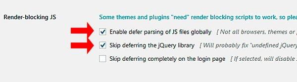 Opción Render blocking JS